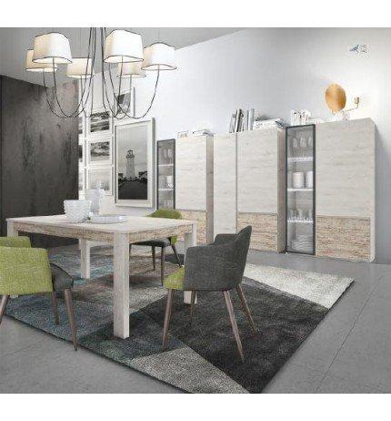 Centro hogar sánchez Conjunto Modular de vitrinas para salón con Leds más Mesa de Comedor de 140x90 cm en Colores Combinados