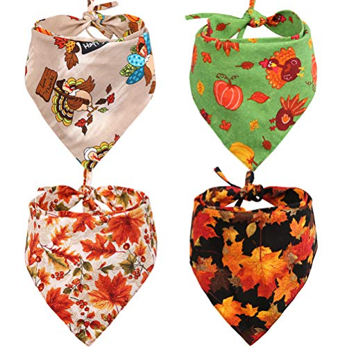 KZHAREEN 4 PCS/Pack Thanksgiving Dog Bandana Reversible Triangle Bibs Scarf Accessories for Dogs Cats Pets Large