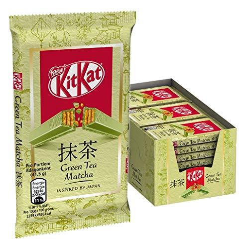 KitKat Green Tea Matcha, Schokoriegel, knusprige Waffel und zartschmelzende Schokolade mit vermahlenem Grüntee, zum Genießen, 24er Pack (24 x 41,5 g)