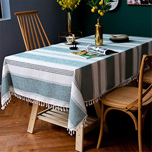 XIAOE Rectangular Striped Fringed Tablecloth Cotton Linen Table Cover Dust Proof Tablecloth Lace Nordic Kitchen Dining Table Desktop Decorative Tabletop Cloth 140 * 180cm