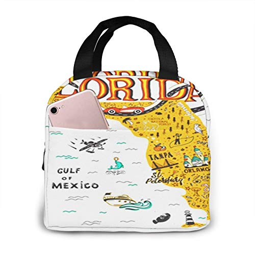 Bolsa Termica Comida Trabajo Almuerzo Porta Alimentos Infantil Niños Oficina Bolsa Calor Hombres Mujer Florida Mapa Turístico