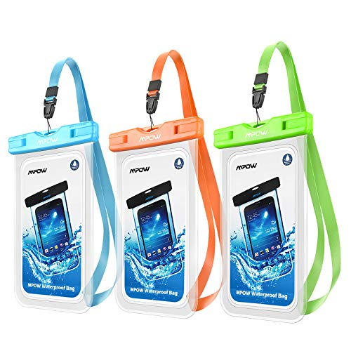 """Mpow Universal Waterproof Case,3 Pack IPX8 Waterproof Pouch Cellphone Dry Bag Compatible iPhone 12 Pro Max/11 Pro Max/Xs Max/XS/XR/X/8, Galaxy S20/S10/S9/Note 10, Google up to 6.8"""" (Blue Orange Green)"""