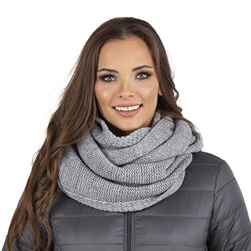 Vivisence Dame Loop Schal Winter Warm Halsbedeckung 7103, Hellgrau,Uni