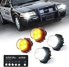 Xprite White Amber Yellow LED Hideaway Strobe Lights Kit 20 Flash Patterns Hazard Warning Light for Trucks, Police Cars, Emergency Vehicles - 4 PCs