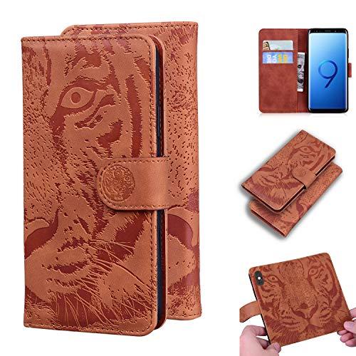 LODROC Galaxy S9 Hülle, TPU Lederhülle Magnetische Schutzhülle [Kartenfach] [Standfunktion], Stoßfeste Tasche Kompatibel für Samsung Galaxy S9/G960F - LOTX0200290 Braun