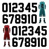 Meetory 24 números de transferencia de calor, 24 unidades, 20,3 cm de alto, pegatinas de números del 0 al 9, para camisetas deportivas, de fútbol, de béisbol, color negro