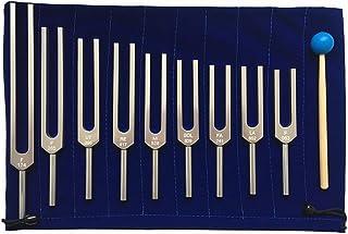 Juego de diapasones, 9 piezas 174/285/396/417/528/639/741/852/963 HZ Herramienta de terapia de sanación de sonido Disposit...