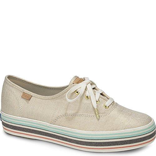 Keds Womens Triple Stripe Foxing Beige/Gold Sneaker Low 37
