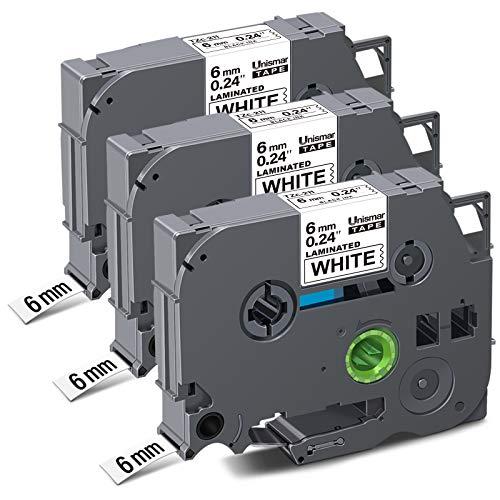 "Unismar Compatible Label Tape Replacement for Brother TZe-211 TZ211 TZe211 for PT-D200 PT-D210 PT-D600 PT-D400 PT-H100 PT-H110 PT-1290 PT-1280 Label Maker, 1/4"" x 26.2', Black on White, 3-Pack"