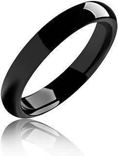 Bling Jewelry Domo Simple Banda Boda Parejas Negro Anillo De Tungsteno para Hombres Y para Mujer Comfort Fit 4Mm
