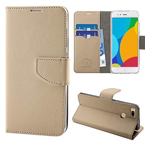 N NEWTOP Cover Compatibile per Xiaomi Mi A1, HQ Lateral Custodia Libro Flip Chiusura Magnetica Portafoglio Simil Pelle Stand (Oro)