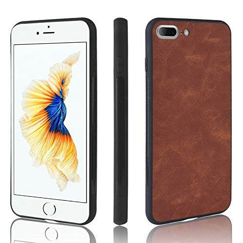 Xyamzhnn Funda telefónica for iPhone 7 Plus / 8 Plus a Prueba de Golpes PC for la Piel PC + PU + TPU Tapa del teléfono (Color : Brown)