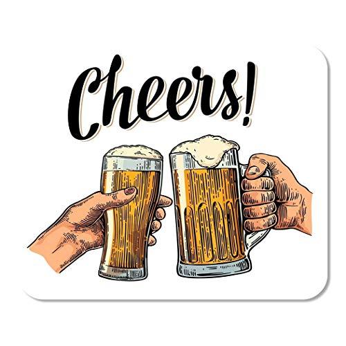 Weibliche Und Männliche Hände Halten Und Klirren Mit Zwei Gläsern Beer Cheers Toast Maus Mat,Rutschfestem Maus Pad,Ultradünner Mauspads,Geschwindigkeit Gaming Mausmatte,Gummierte Unterseite 25X30Cm