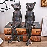 LIN-rlp Escultura Estatua Estilo Americano Retro del Gato Figurita 2pcs / Set de Mesa de la Sala de artículos de menaje decoración del hogar, de múltiples Colores