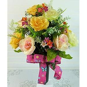 Cemetery Vase with Pastel Roses, Spring Cemetery Arrangement, Cemetery Flowers