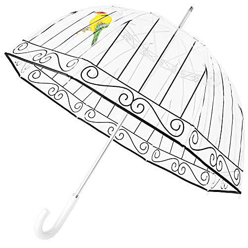 Kung Fu Smith Clear Birdcage Umbrella, Dome Bubble Rain Stick Umbrella with White Leather Handle