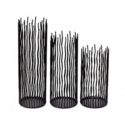 GiveU Metal Iron Willow Led Pillar Candle Holder Set of 3, Modern Black Table Centerpiece Set,8/10/12 inch Height, for Indoor & Outdoor Decora, Dining Room, Home Decoration(Not Contains Led Candle)