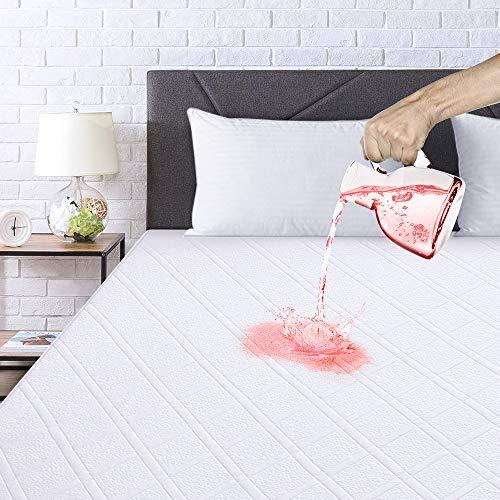 viewstar Bambus wodoodporny ochraniacz na materac podwójne łóżko, pikowana bardzo głęboka podwójna osłona materaca, 3D powierzchnia z tkaniny powietrznej i pokrycie materaca TPU bez winylu 135 x 190 cm