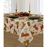 Elrene Home Fashions Swaying Leaves Allover Fabric Tablecloth for Thanksgiving/Fall/Harvest, 60' x 144', Ivory