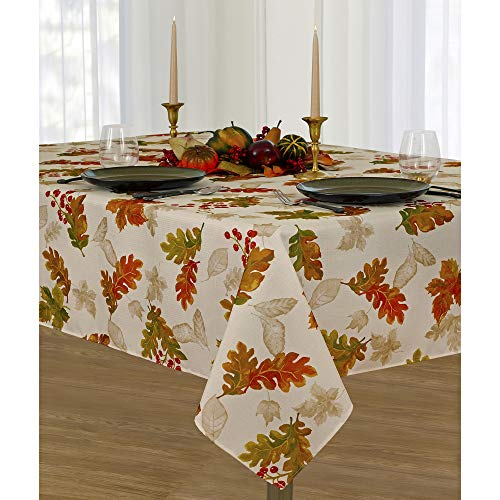 Elrene Home Fashions Swaying Leaves Allover Print Tablecloth for Thanksgiving/Fall/Harvest, 60 x 102, Ivory