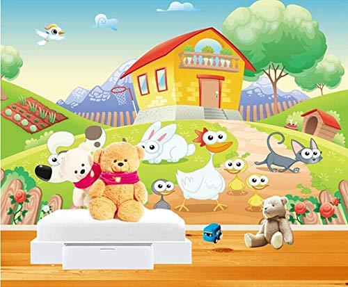 Qingany wandscherm, personaliseerbaar, 3D-muurbeschildering, mooi huis, tekening en alle soorten dieren, vlinder, woonkamer, tv, wand, kinderkamer, behang 350 x 245 cm