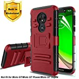 Dingoo for Moto G7 Play Case Screen Protector Hybrid Dual Layer Shockproof Bumper Hard Back Cover Soft TPU Shockproof Inner Hard Armor Heavy Duty Protective Cover Red