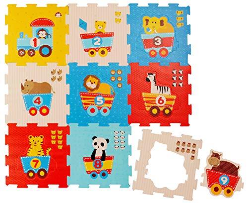 Bieco Puzzlematte, 19 tlg. | Spielmatte Baby | XXL Puzzle Kinder | Krabbeldecke Baby Spielmatte Kinder| Turnmatte Kinder | Kinder Teppiche | Krabbelmatte Baby | Buchstaben Lernen | Spielteppich Junge