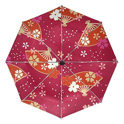 Kleiner Reiseschirm Winddicht Outdoor Regen Sonne UV Auto Compact 3-Fach Regenschirmabdeckung - Roter Ventilator