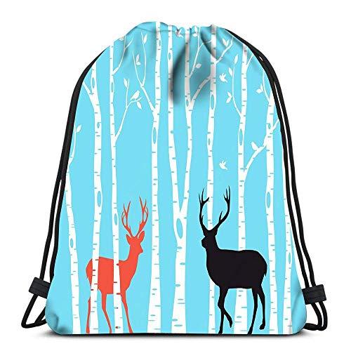 Rucksack mit Kordelzug, Rentier mit Birkenbaum, Wald, Weihnachtskarte, Reiserucksack, Schulrucksack, Cool