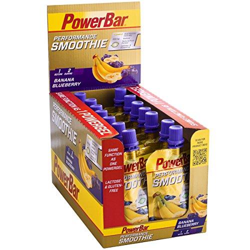 PowerBar Performance Smoothie aus Fruchtpüree – Mit Kohlenhydraten, Maltodextrin & Natrium – Energie Gels ohne Konservierungsstoffe – Vegan – Banane Heidelbeere (16 x 90 g)
