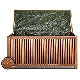 Deuba Auflagenbox | Akazien Hartholz | Innenplane | Griff | Räder | 117cm | Holztruhe Kissenbox Truhe Gartenbox Gartentruhe - 6