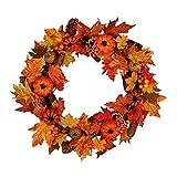 GREEN&RARE Guirnalda de 45/60 cm de calabaza artificial de hoja de arce para colgar en la ventana de la pared, decoración de Halloween de Acción de Gracias, arte para decoración del hogar