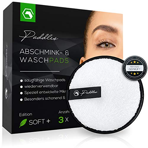 PADDLES - Abschminkpads waschbar | Wiederverwendbare Abschminktücher, Kosmetikpads zur Make-Up Entfernung | Umweltfreundlich, Nachhaltig [Mikrofaser, 3er Set] (3, Weiss)