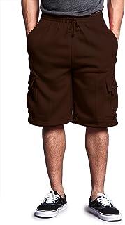 G-Style USA Men's Solid Fleece Cargo Shorts DFP1 - Brown - Medium