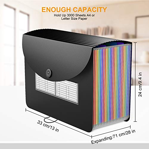 24 Pockets Expanding File Folder/Accordian File Organizer with Expandable Cover/Portable A4 Letter Size File Box,High Capacity Plastic Colored Paper Document Receipt Organizer Filing Folder Organizer Photo #4