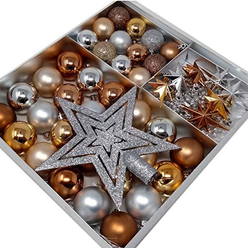 ToCi Set di decorazioni per albero di Natale | 45pezzi con palline di Natale, stelle, decorazioni di arredamento | Natale Albero Pendenti | Bellissime decorazioni per albero di Natale in colori assortiti