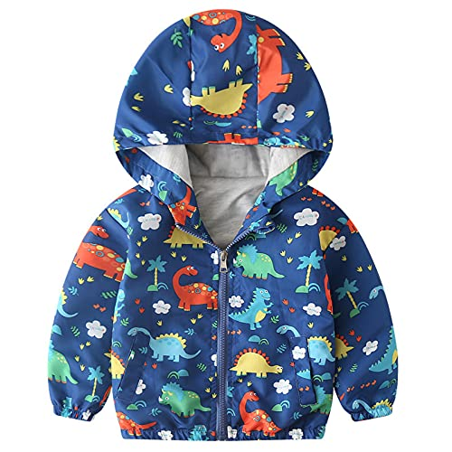 Toddler Girls Boys Fall Cool Weather Cute Cartoon Dinosaur Print Hood Windproof Jacket 1-5 Years