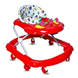 GoodLuck Baybee Lunaa Round Baby Walker for Kids with 3 Position Height Adjustable Kids Walker with Fun Toys & Activities for Babies(6 Month to 2 Years)- Red (RED)