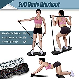 EAST MOUNT Portable Home Gym Workout Equipment, Exercise Equipment with Pilates Bar Resistance Bands Ab Wheel, Full Body Workout to Build Muscle and Burn Fat. (Black)