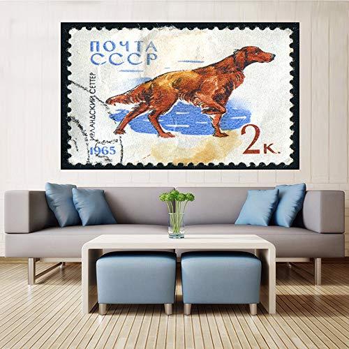 Geiqianjiumai muurkunst canvas schilderij hond retro stempel retro poster decoratie woonkamer decoratie grappige dier stempel frameloos schilderij