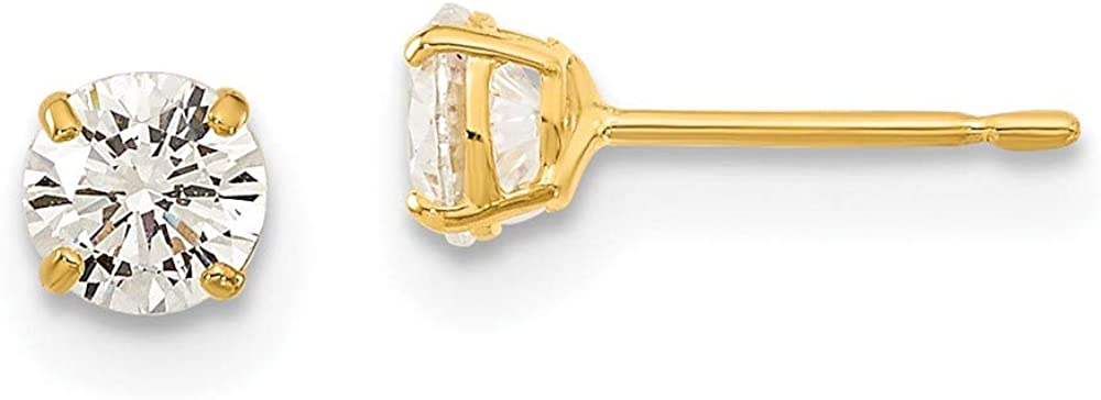 14k Yellow Gold 4mm Round Cubic Zirconia Basket Set Stud Earrings