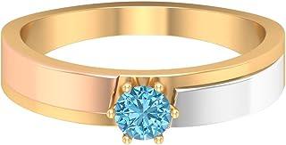 Anillo solitario de aguamarina de 0,35 ct, anillo de compromiso de corte redondo de 4 mm, anillo de dos tonos, anillo de o...