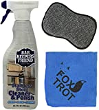 Bar Keeper's Friend Stainless Steel Cleaner and Polish Cleaning Kit - Includes Bar Keeper's Friend Stainless Steel Cleaner And Polish Spray - 1 Foxtrot Microfiber - 1 Foxtrot Dual Sided Scrub