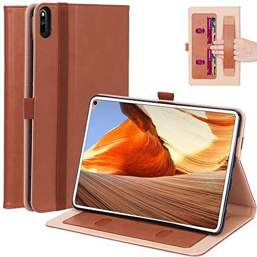 MOYOFEE JYMD AYDD - Funda protectora para tablet Mi Pad 4 Plus/10.1 pulgadas 2018 de piel sintética con soporte, soporte y soporte de mano y función ranuras para tarjetas (color: marrón)