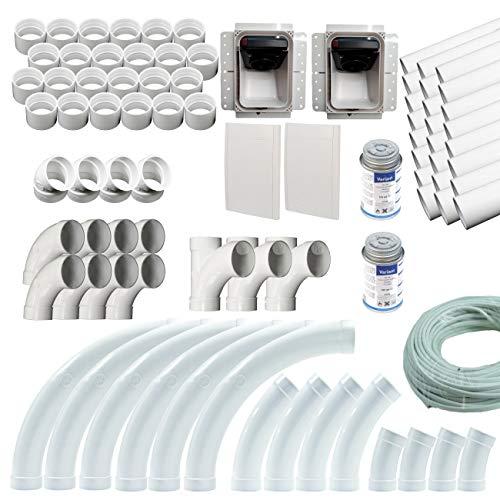 Einzugsschlauch Installationsset für Zentralstaubsauger mit 2 Retraflex Saugdosen, Rohre und Formteile passend für 2 x 12,2 m Schlauchlänge