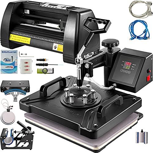 VEVOR Heat Press Machine 15x15 inch 6 in 1 T-Shirt Heat Press and Vinyl Cutter 14 inch PC OnlyPlotter Machine 375mm Paper Feed Vinyl Cutter Plotter