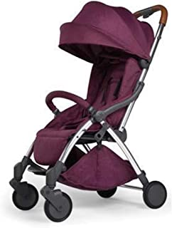 JDFHSD Baby Cart, Baby Strollers Baby Stroller Ultra Light Automatic Folding Baby Carriage Can Sit Reclining Aircraft Four Wheel Baby Pushchair Pushchairs (Color : Purple)