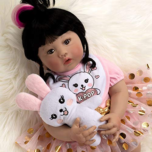 Paradise Galleries Asian Real Baby Doll That Looks Real K - pop Girl, 18 inch Korean Reborn Doll, GentleTouch Vinyl & Weighted Body, 5-Piece Gift Set