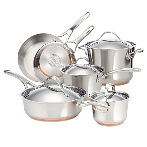Anolon 75818 Nouvelle Stainless Steel Cookware Pots and Pans Set, 10 Piece