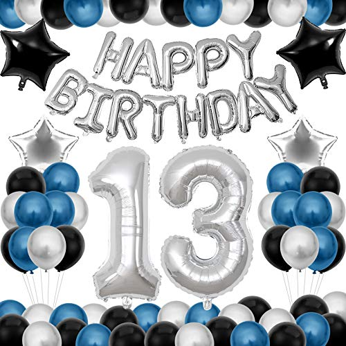 13 decoraciones de cumpleaños, 50 globos de fiesta azul, negro y plateado con globos de papel de aluminio con pancarta de feliz cumpleaños, para hombres y mujeres, cumpleaños ⭐